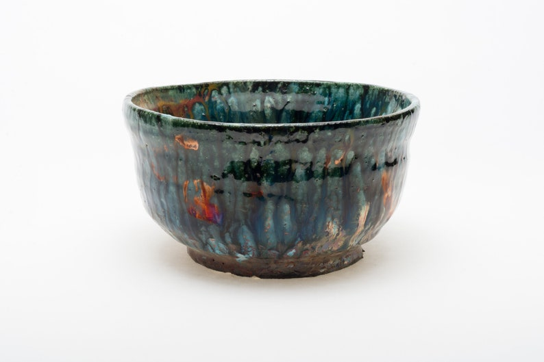 Bol en céramique Raku avec fleur en cuivre