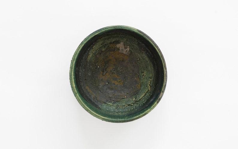 Bol en céramique Raku vert et noir