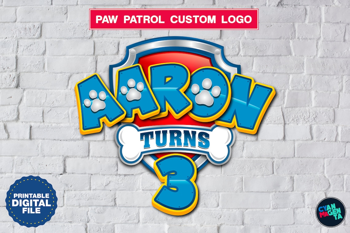 paw patrol custom logo with name and age  etsy