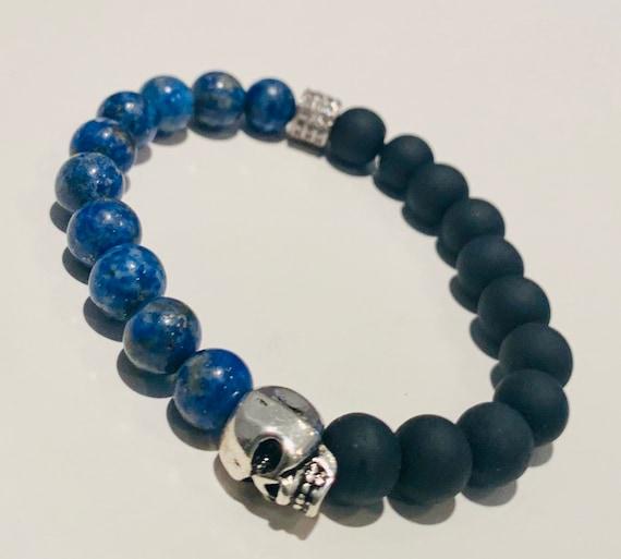 Men's 8mm Lapis Lazuli & Matte Black Onyx Beaded Stretch Bracelet Sterling Silver Skull and CZ Accent