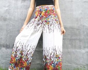 elastic waist loose trousers SAMBA Open wide leg boho pants wrap festival brown pants