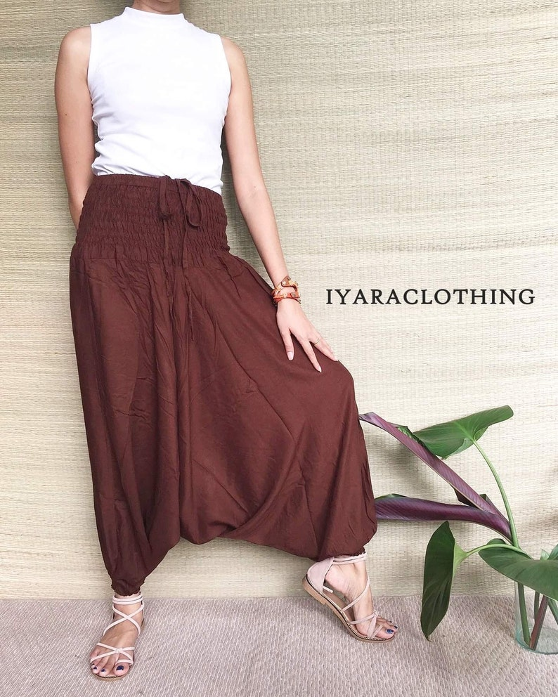 Harem Pants Thai Pants Brown Solid Harem Pants. Boho Strenchy Pants,Boho Clothing Beach Women Baggy Casual Rayon Pants