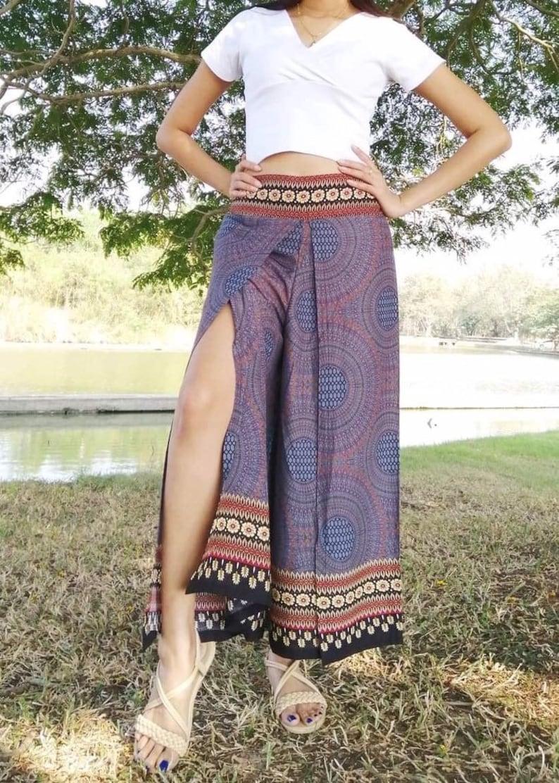 Handmade Bohemian Pants Women Boho Pants Harem Pants Palazzo Pants Grey.