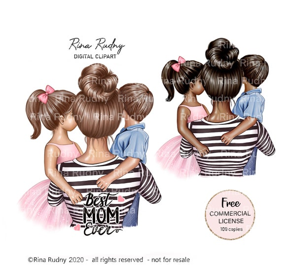 Mother's Day clipart, mother son daughter clipart, mom boy girl clipart,  mom clipart, mommy clipart, children clipart, parents clipart