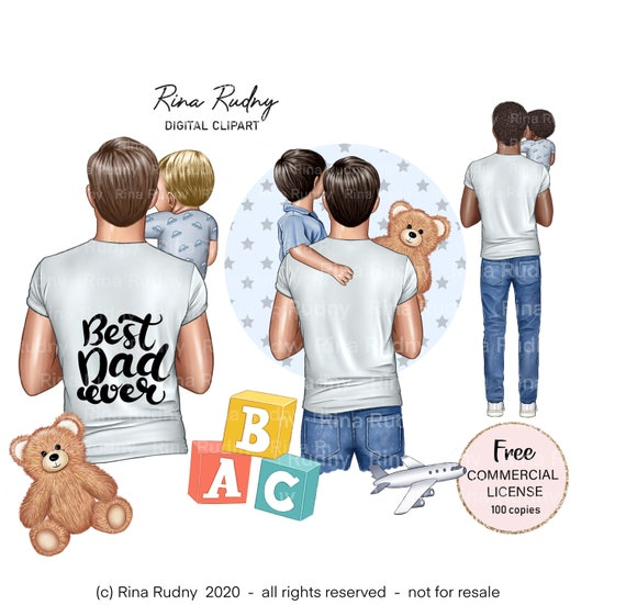 Father's Day clipart, father son clipart, children clipart, parents clipart , family clipart, best dad clipart