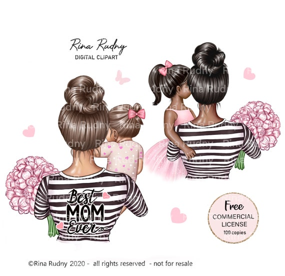 Mother's Day clipart, mother daughter clipart, mother of girl clipart, baby girl, parent clipart, family clipart, child clipart, children