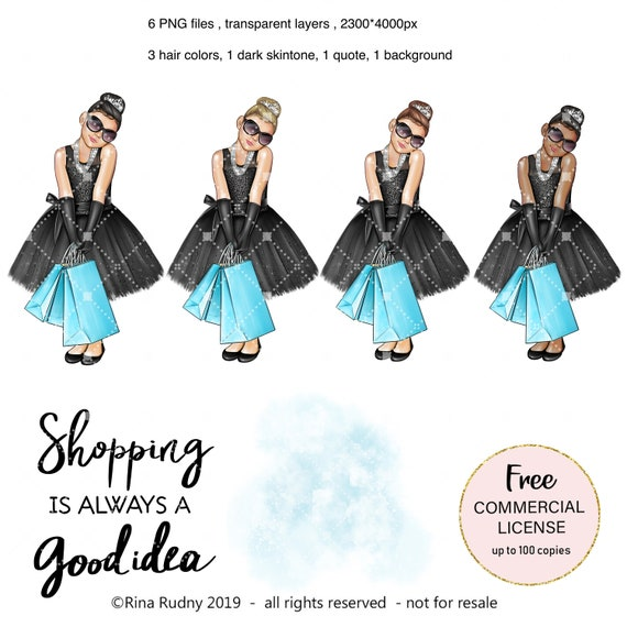 Shopping Clipart Shopping Girl Breakfast At Clipart Audrey Etsy