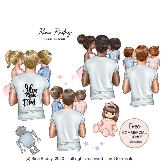 Father's Day clipart, father daughter son clipart, dad girl son clipart, father children clipart, parents clipart,family clipart,mom clipart