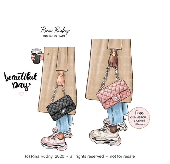 Fashion bag clipart , shoes clipart, sneakers clipart , beige coat clipart , coffee clipart