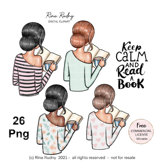 Book clipart , reading clipart , bookworm clipart, book lover clipart, planner girl clipart , I love books clipart, read clipart,