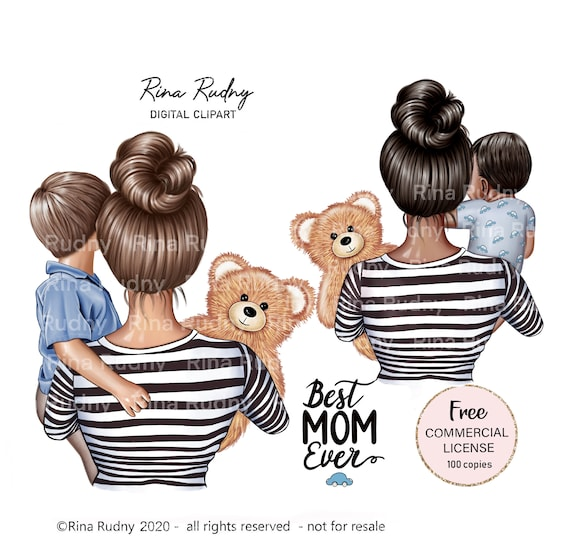 Mother's Day clipart, mom son clipart, mommy clipart, teddy bear clipart, children clipart, parents clipart,family clipart