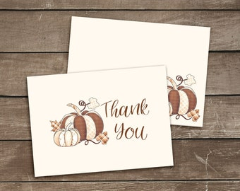 Printable Pumpkin Thank You Card With Envelope, Brown Beige Autumn Thank You Note, Folded 4x6 Card Template, Fall Envelope Template Download