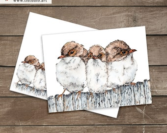 Printable Watercolor Birds Greeting Card, A6 Folded Card Template, Any Occasion Card Envelope Set, Hand Painted 4x6 Art Card, A6 Envelope