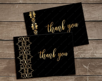 Printable Black Gold Thank You Cards, Gold Fall Leaves Thank You Note, Folded A6 Thank You Card Template,Luxury 4x6 Thank You Cards Download