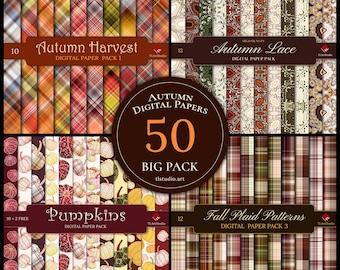 Autumn Digital Paper Big Pack, Plaid Digital Patterns,Autumn Lace Digital Backgrounds,Seamless Pumpkin Patterns,Thanksgiving Digital Paper