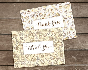 Printable Pumpkins Thank You Cards, Brown Beige Autumn Thank You Note, Folded A6 Thank You Card Templates, Fall Thank You Cards Download