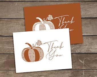 Printable Pumpkin Thank You Cards, Orange Autumn Thank You Note, Folded A6 Thank You Card Templates, Lace Pumpkin Thank You Cards Download