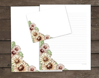 Printable Floral Stationery Set, Daisies Writing Paper, Daisy Envelope Template, Watercolor Flowers Lined Paper, Spring Letter Writing Set