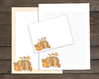 Printable Pumpkin Stationery Set, Fall Leaves Writing Papers, Autumn Envelope Template, Rustic Plaid Pumpkins Lined Paper, Journal Pages