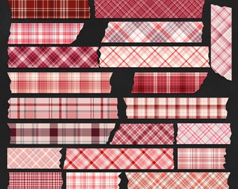 Valentine Plaid Digital Washi Tape, Commercial Use, Red Plaid Tape Clipart, Valentine Plaid Digital Borders, Digital Tape Stickers