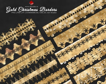 Gold Christmas Digital Borders, Printable Gold Border Clipart,COMMERCIAL USE, Digital Christmas Washi Tape, Gold Snowflake Lace Clipart