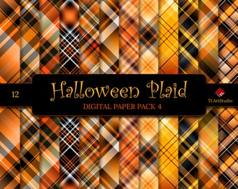 Halloween Plaid, Digital Paper Pack, Commercial Use  Black and Orange Plaid Patterns, Halloween Tartan Digital Scrapbook Backgrounds