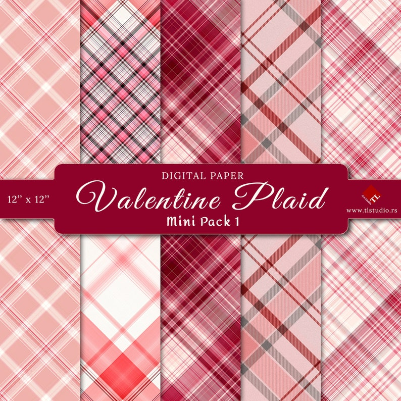 Red Valentine Plaid Digital Paper Mini Pack Commercial Use image 0
