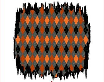 Halloween Argyle Sublimation Background, Orange Black Distressed Sublimation Design, Grunge Halloween Backsplash, Sublimation PNG Download