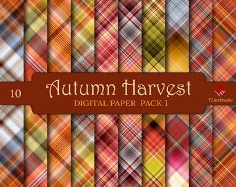 Autumn Harvest Plaid, Digital Paper Pack, Commercial Use Fall Plaid Patterns, Green Orange Spring Scrapbook Backgrounds