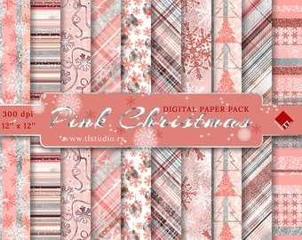 Pink Silver Christmas Digital Paper Pack, Commercial Use, Blush Pink Winter Digital Patterns, Pink Holiday Scrapbook Backgrounds