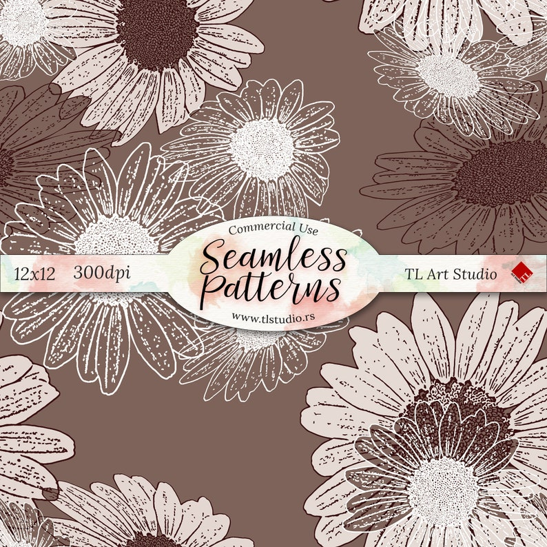 Beige Brown Surface Pattern,Seamless Fabric Patterns Spring Digital Paper Daisies Flowers Background Daisy Floral Pattern Commercial Use
