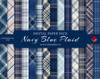 Navy Blue Plaid Digital Paper Pack, Commercial Use, Dark Blue and Gray Plaid, Digital Scrapbook Backgrounds