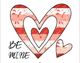 Valentine Heart Sublimation Design, Commercial Use Valentine Clip Art, Be Mine Sublimation Download, Striped Heart PNG Design