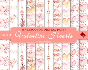 Watercolor Valentine Hearts, Handpainted Digital Paper, Commercial Use Valentine Scrapbook Paper, Pink Hearts Seamless Patterns,