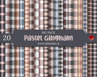 Gingham Digital Paper, Big Pack, Commercial Use Pastel Plaid Patterns, Gingham Scrapbook Backgrounds