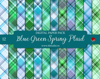 Blue Green Plaid, Digital Paper Pack, Commercial Use, Spring Seamless Plaid Patterns, Digital Scrapbook Backgrounds