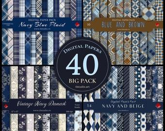 Blue Digital Paper, Big Pack, Navy Plaid Seamless Patterns, Blue Beige Damask Paper, Dark Blue Argyle Patterns, Digital Paper Bundle