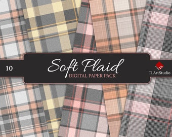 Pink and Gray Plaid Digital Paper, Commercial Use Flannel Plaid Textures, Printable Pastel Plaid Scrapbook Backgrounds