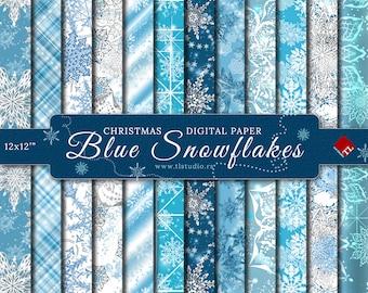 Blue Christmas Digital Paper Pack, Commercial Use Luxury Blue Snowflake Patterns, Winter Digital Scrapbook Paper,  Digital backgrounds