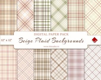Neutral Digital Paper Pack, Commercial Use Beige Plaid Paper, Cream Digital Scrapbook Backgrounds, Seamless Plaid Patterns