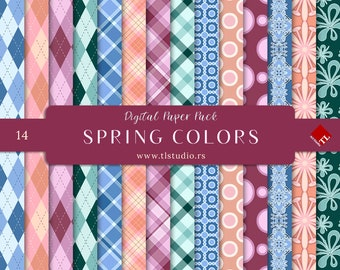 Spring Colors Digital Paper Pack, Colorful Digital Scrapbook Backgrounds, Commercial Use Easter Digital Paper