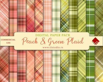 Peach and Green Plaid Patterns, Digital Paper Pack, Easter Plaid Scrapbook Backgrounds, Commercial Use Seamless Plaid, Spring Digital Paper