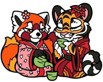 Red panda and Tiger Fursona Pin
