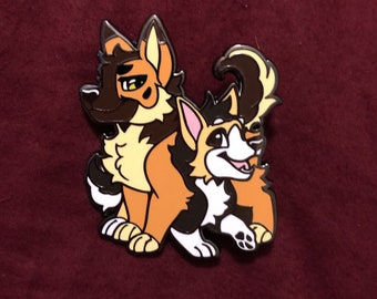 Fursona Pin Dog Duo Kickstarter Corgi & German Shepherd