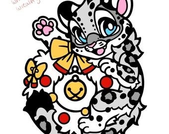 Dangle Snow Leopard Fursona Pin V2 Glitter/Dangle Pre-Order