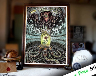 """Psychedelic Prints of """"The last rose"""" - Psychedelic Art - Poster Art - Trippy poster"""