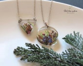 Real forest cones necklace, woodland necklace, real flower necklace, botanical necklace, botanical jewelry, gift for her, resin jewelry