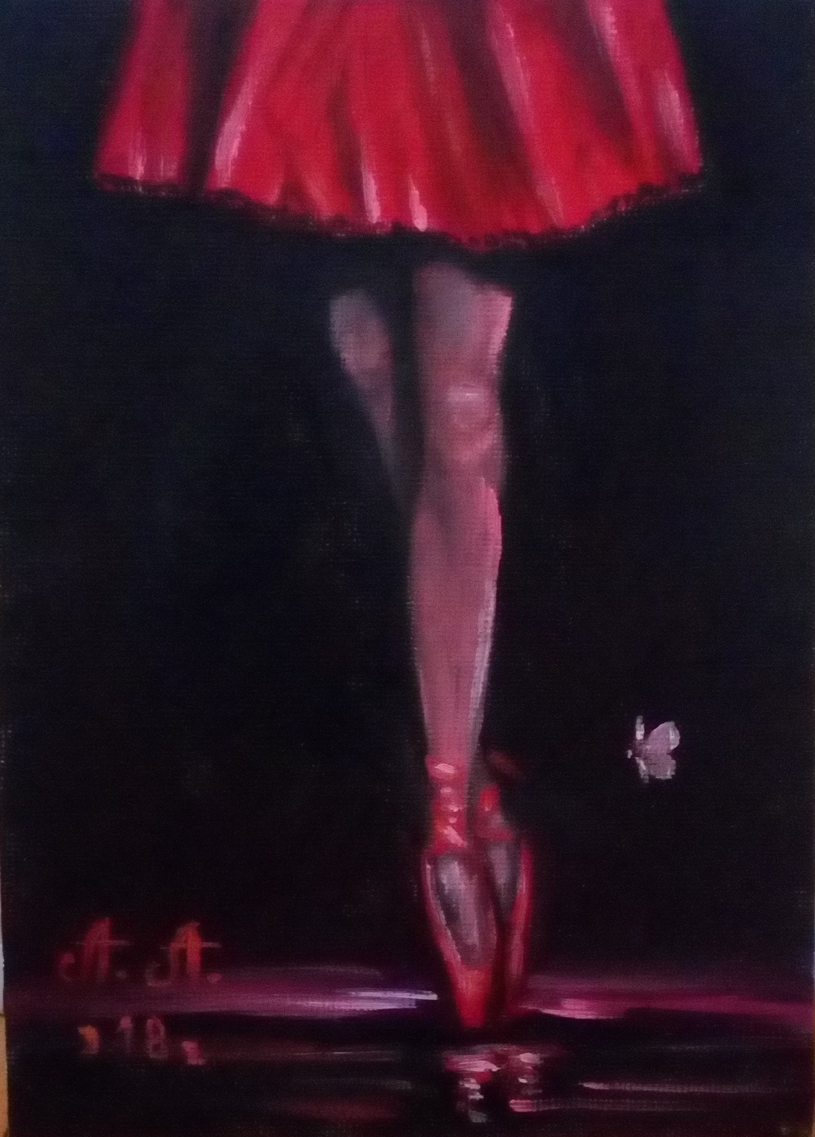 ballet, oil painting on canvas, ballerina, painting on black background, miniature