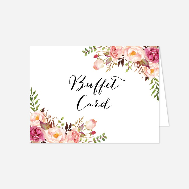 Floral Buffet Card WD1 Templett Pink Floral Wedding Buffet Card Floral Food Label Floral Wedding Wedding Food Label Instant Download