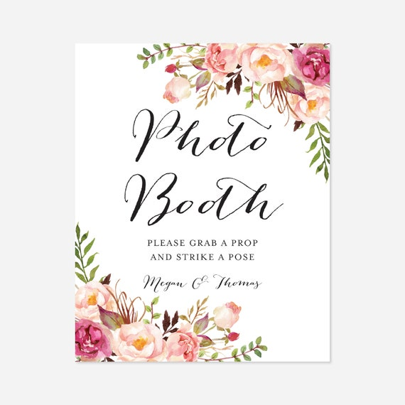 Instant Download Wedding Photo Booth Props Pink Floral Wedding Photo Booth Sign Templett Floral Wedding Floral Photo Booth Sign WD1
